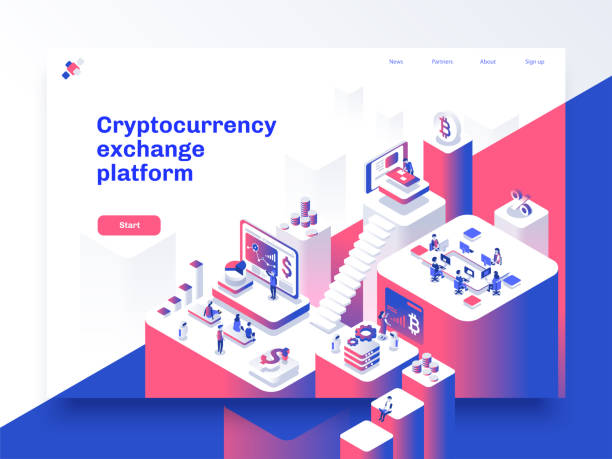 cryptocurrency and blockchain isometric composition with people, analysts and managers working on crypto start up. landing page template. vector isometric illustration. - retail worker stock illustrations