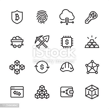 16 line black on white icons / Set #75 / Cryptocurrency & Blockchain / Pixel Perfect Principle - all the icons are designed in 48x48pх square, outline stroke 2px.  First row of outline icons contains:  Bitcoin Safety, Fingerprint, Cloud Computing, Key;  Second row contains:  Coal Mine, Mining, Digital Currency, Ingot;  Third row contains:  Blockchain, Exchange Rate, Cryptocurrency Mining, Network Connection;   Fourth row contains:  Marketing, Block Shape, Bitcoin Wallet, Three Dimensional Block.  Complete Inlinico collection - https://www.istockphoto.com/collaboration/boards/2MS6Qck-_UuiVTh288h3fQ