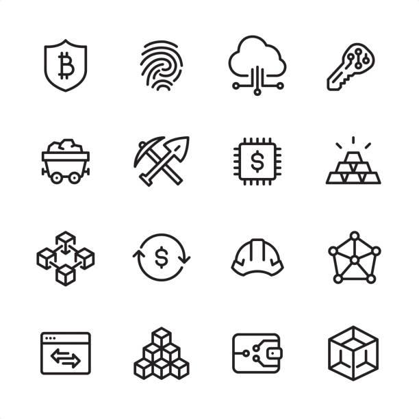 bildbanksillustrationer, clip art samt tecknat material och ikoner med kryptovaluta och blockchain - disposition ikonuppsättning - mining