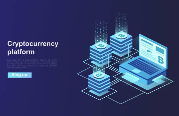 stockillustraties, clipart, cartoons en iconen met cryptocurrency en blockchain. de oprichting van het platform van digitale valuta. - bitcoin