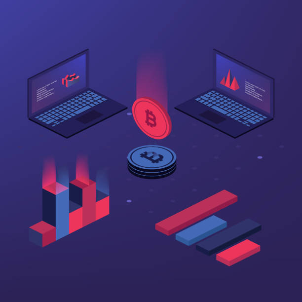 Cryptocurrency and blockchain. Cryptocurrency and blockchain. Bitcoin mining farm. Creating digital currency. Concept for landing page, web design, banner and presentation. 3d isometric flat design. Vector illustration initial coin offering stock illustrations