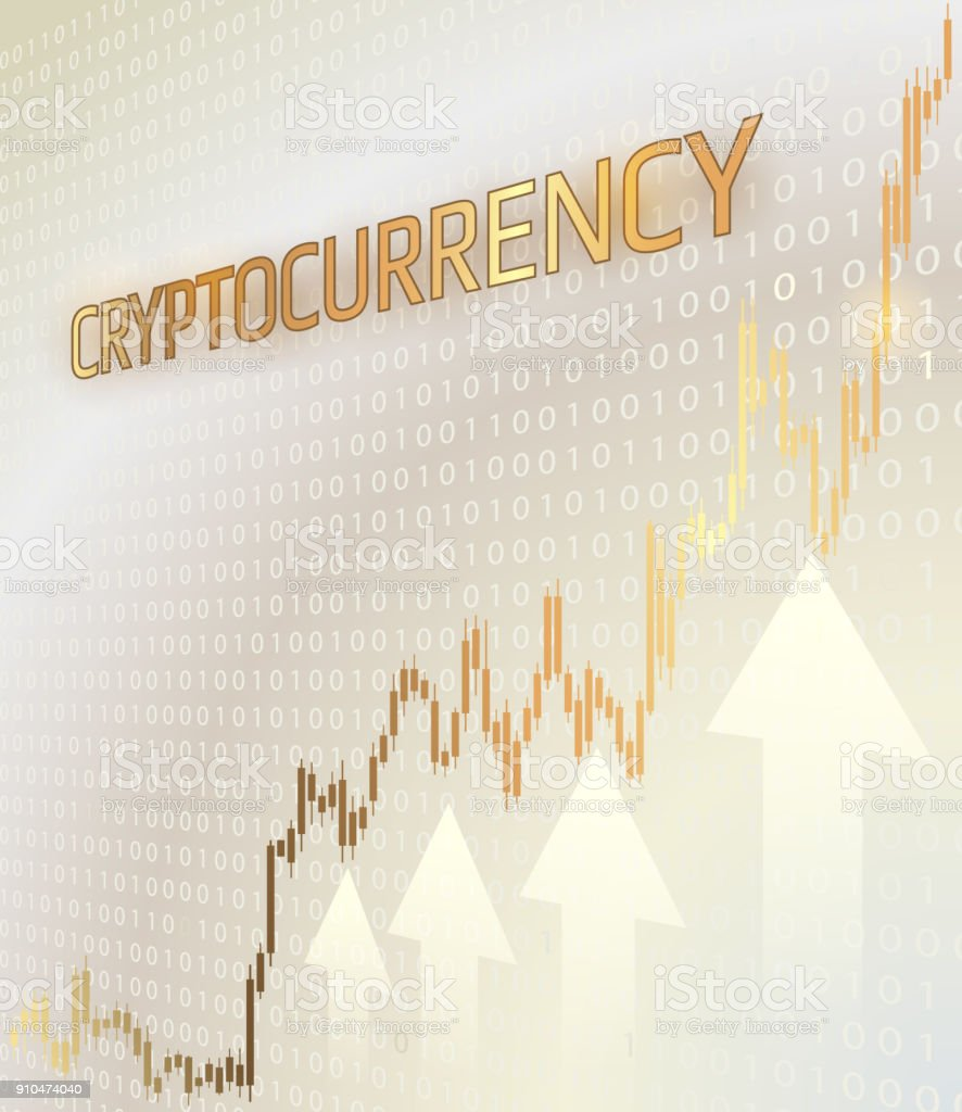 Cryptocurrency and graph with a price increase. vector art illustration
