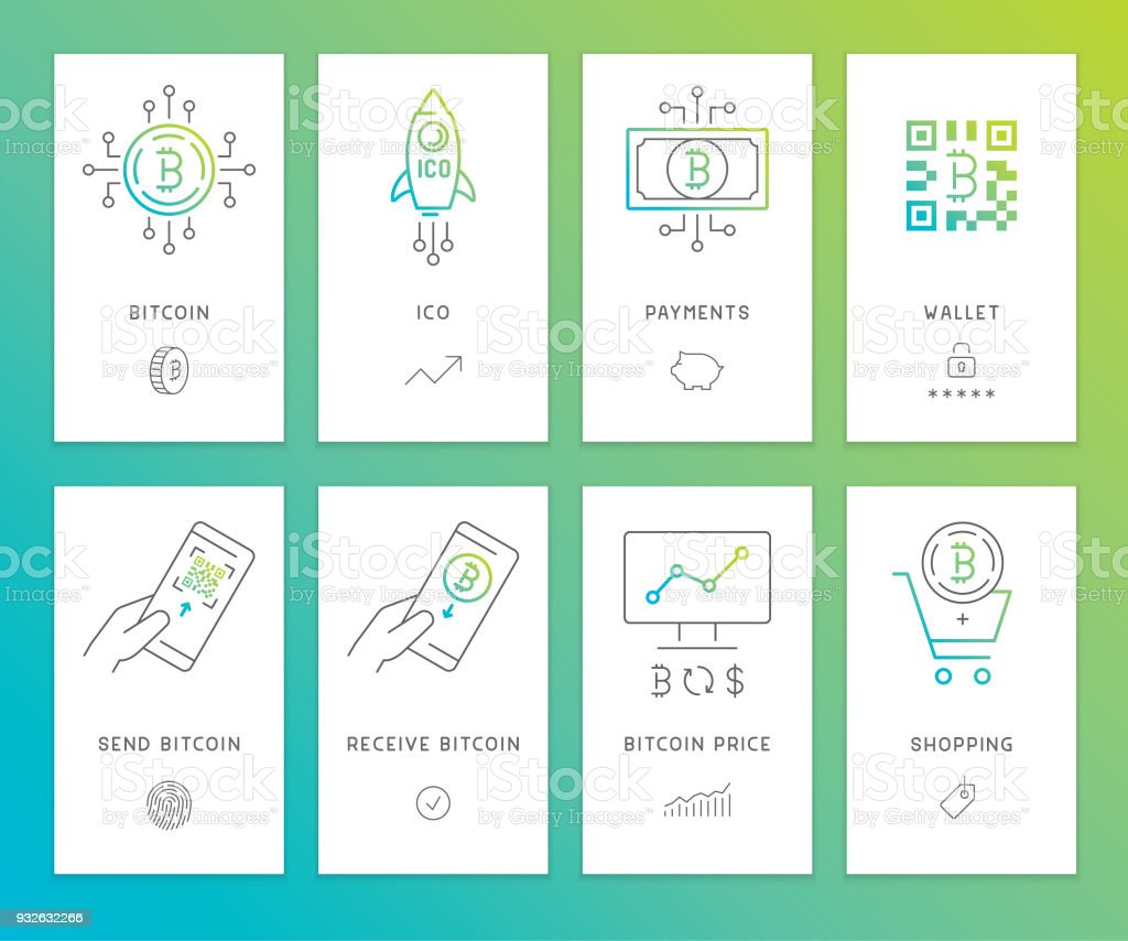 Cryptocurrency banners vector art illustration