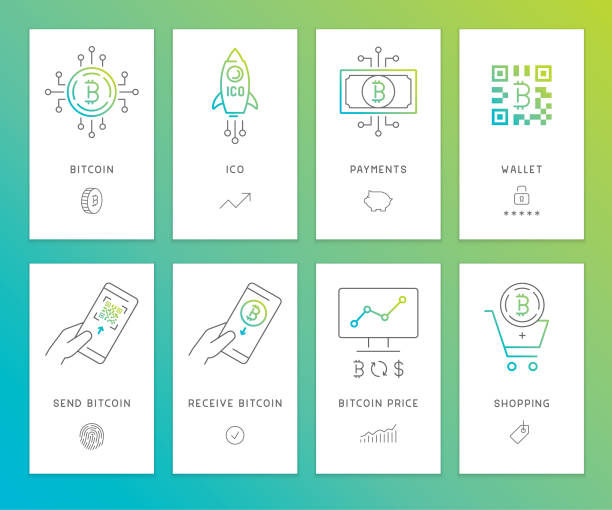 Cryptocurrency banners Editable set of vector banners on layers.  This is an AI EPS 10 file format, with transparency effects, gradients and blends. initial coin offering stock illustrations