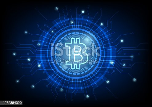 istock Cryptocurrency bitcoin concept. Digital abstract technology blue background 1272384320