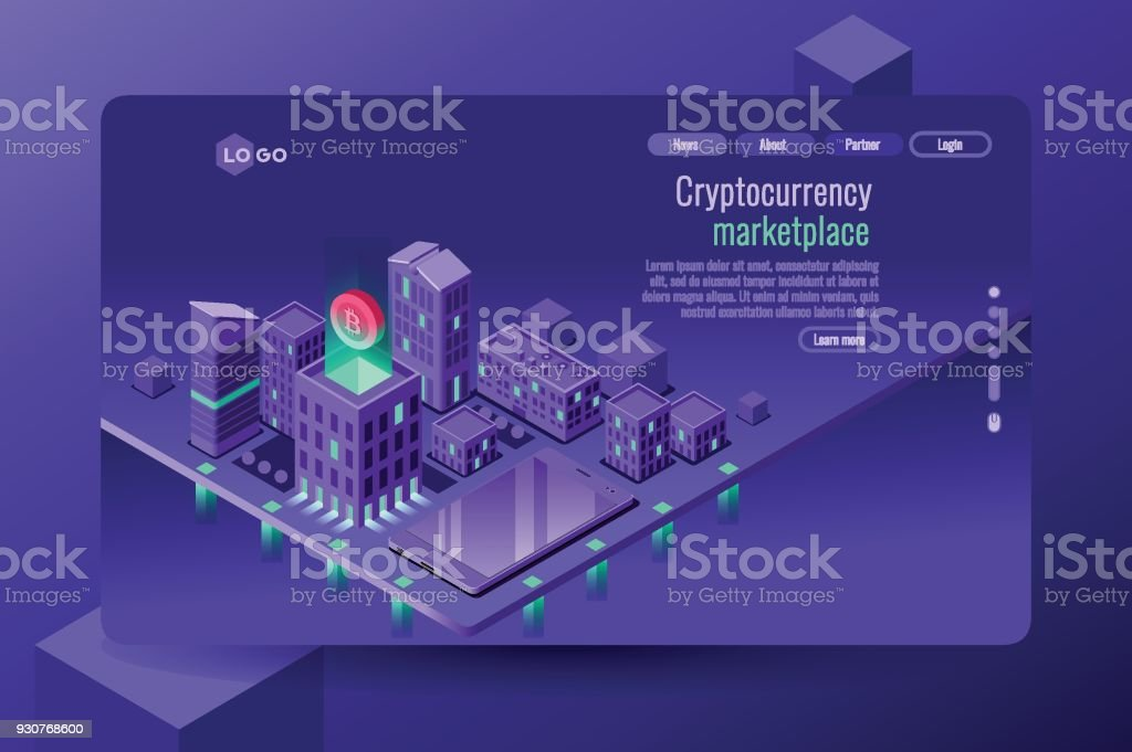 Cryptocurrency commerce illustration vector art illustration