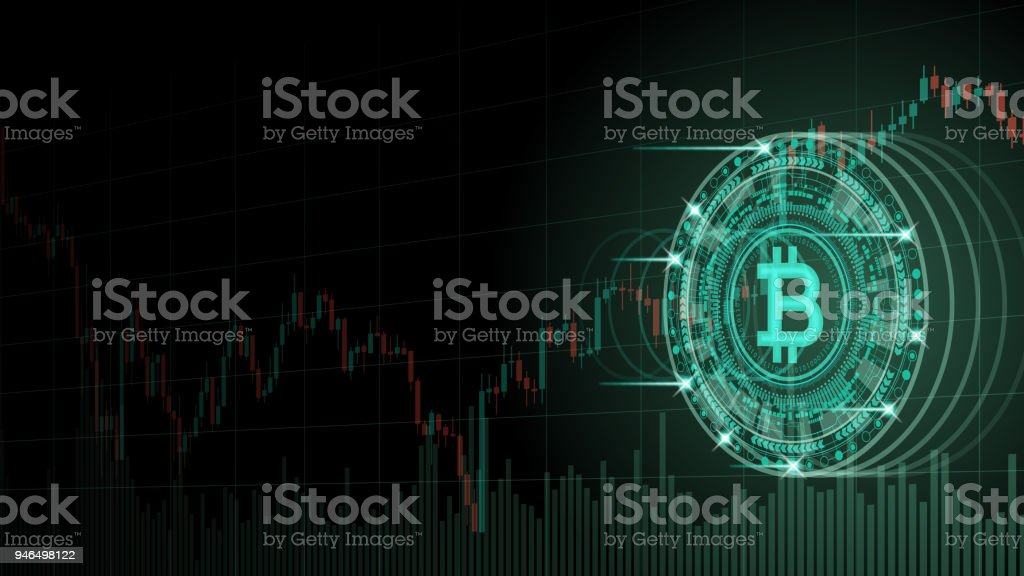 Cryptocurrency concept [Bitcoin and chart in virtual space] vector art illustration