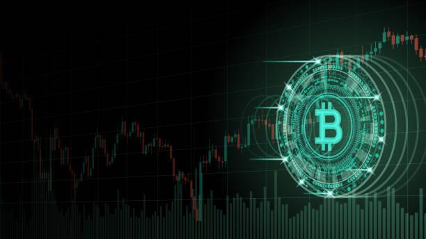 stockillustraties, clipart, cartoons en iconen met cryptocurrency concept [bitcoin en grafiek in de virtuele ruimte] - bitcoin