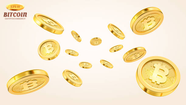 stockillustraties, clipart, cartoons en iconen met cryptocurrency concept of elektronische betalingen. vector technologie 3d illustratie. realistische gouden munten explosie of splash op witte achtergrond. regen van gouden bitcoins. vallen of vliegend geld - bitcoin