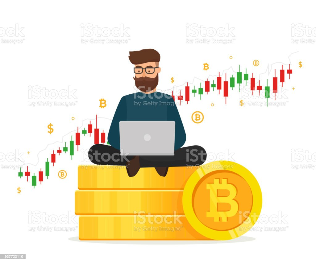 Cryptocurrency concept. Young man sitting on golden stacks coin with laptop and trading graph diagram. Blockchain network technology. Vector illustration isolated on white background. Young man sitting on golden stacks coin with laptop and trading graph diagram. Adult stock vector