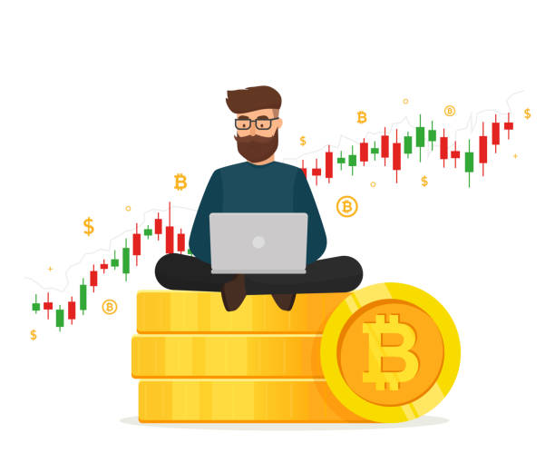 Cryptocurrency concept. Young man sitting on golden stacks coin with laptop and trading graph diagram. Blockchain network technology. Vector illustration isolated on white background. Young man sitting on golden stacks coin with laptop and trading graph diagram. initial coin offering stock illustrations