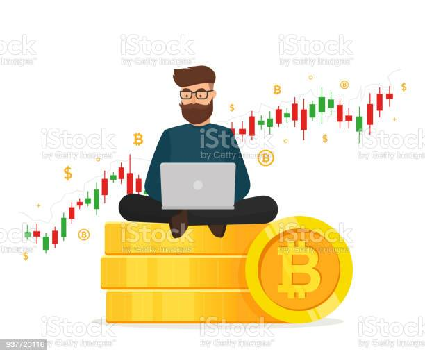 Cryptocurrency Concept Young Man Sitting On Golden Stacks Coin With Laptop And Trading Graph Diagram Blockchain Network Technology Vector Illustration Isolated On White Background Stock Illustration - Download Image Now