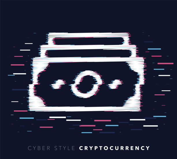 Cryptocurrency Glitch Effect Vector Icon Illustration Glitch effect vector icon illustration of cryptocurrency with abstract background. minimum wage stock illustrations