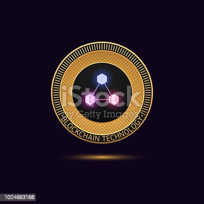 Cryptocurrency golden Coin in Blockchain technology. Vector illustration, logotype or concept of Digital Cryptocurrency Token for Initial Coin Offering or ICO