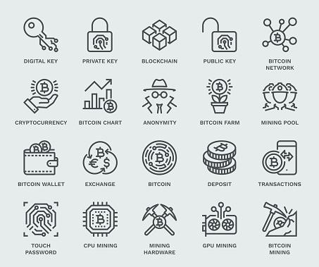 Cryptocurrency Icon Set, Monoline concept