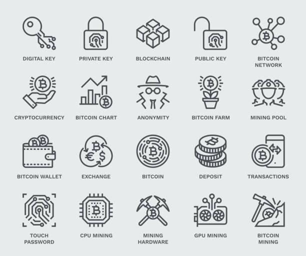 stockillustraties, clipart, cartoons en iconen met cryptocurrency icon set, monoline concept - bitcoin