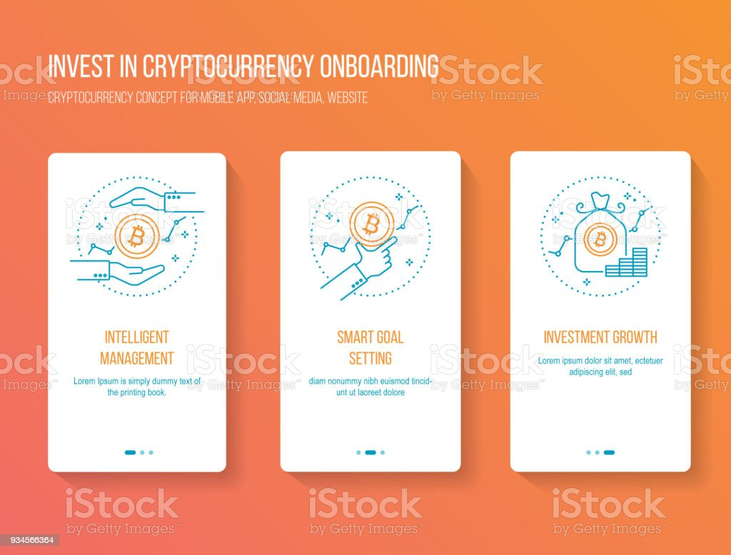 Cryptocurrency investing onboarding mobile app walkthrough screens modern, clean and simple concept. vector illustration template vector art illustration