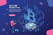 Server processing data backup, software hacking or lock hardware. Virtual rich transaction monetary success shield for business. Altcoins mine concept with character flat isometric vector illustration