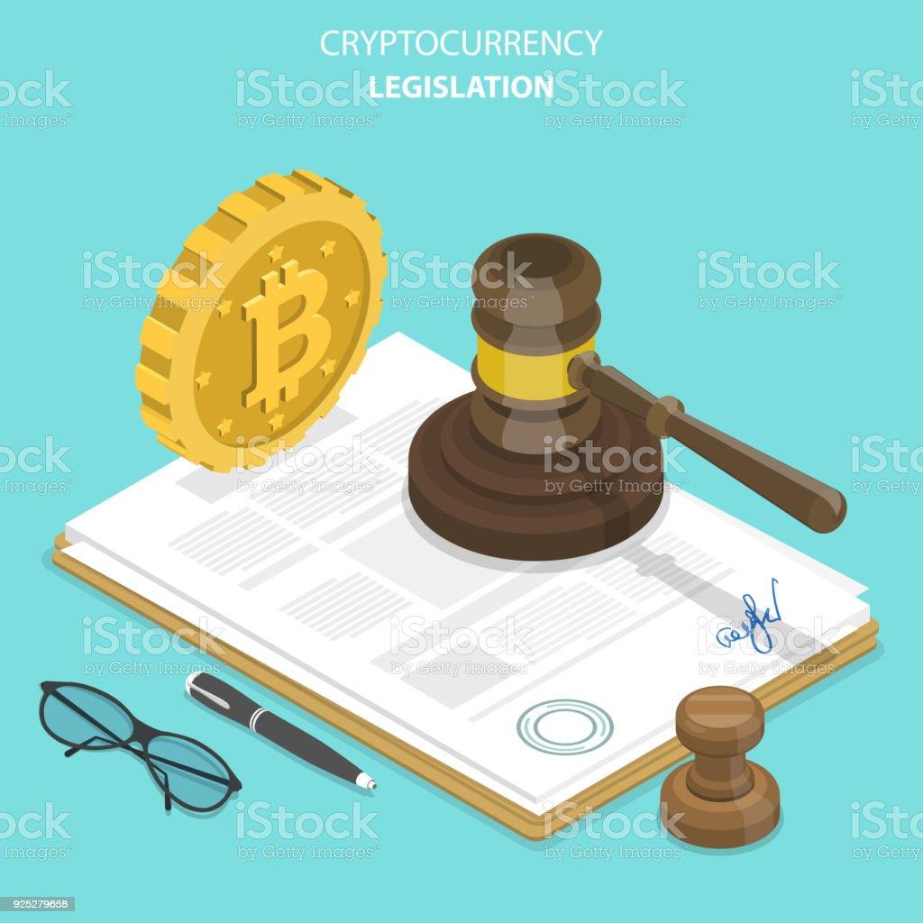 Cryptocurrency legislation flat isometric vector. vector art illustration
