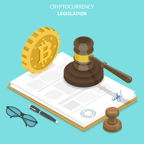Cryptocurrency legislation flat isometric vector. Cryptocurrency legislation flat isometric vector concept. Signed document with bitcoin and gavel on it. rules stock illustrations
