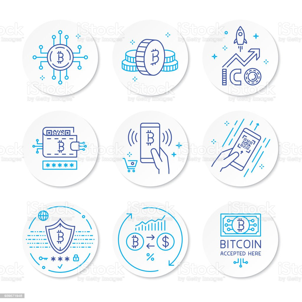 Cryptocurrency line icons vector art illustration