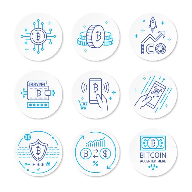 stockillustraties, clipart, cartoons en iconen met cryptocurrency lijn pictogrammen - bitcoin