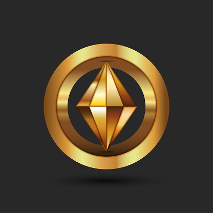 Cryptocurrency logo gold 3d geometric shape from a ring and a pointed figure inside, creative emblem blockchain technology.