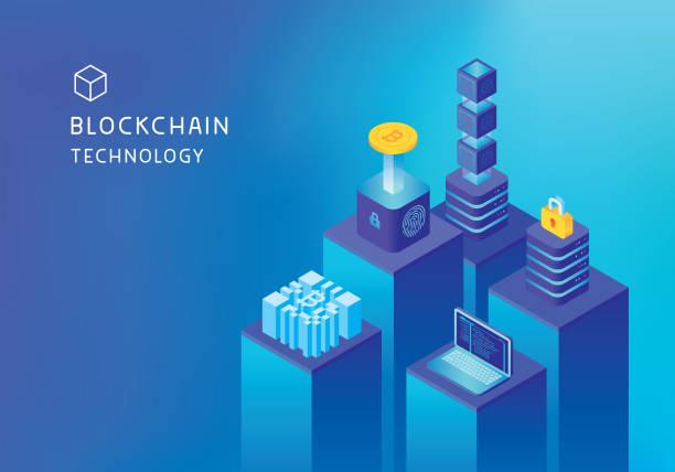 stockillustraties, clipart, cartoons en iconen met cryptocurrency mijnbouw blockchain concept - blockchain