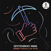 Gradient vector illustration for cryptocurrency mining concept. Minimalist graphic design has continuous line with editable stroke included in black background.