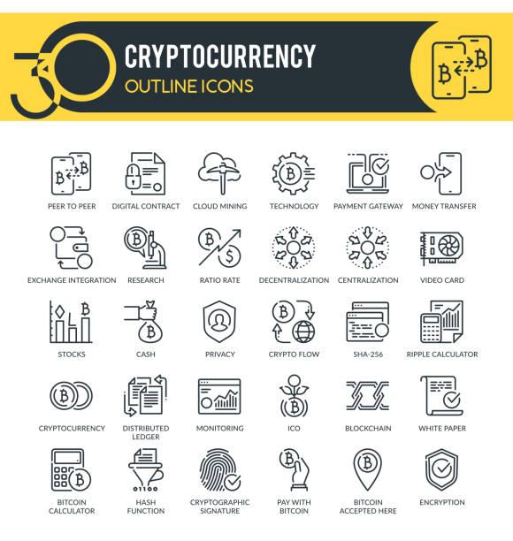stockillustraties, clipart, cartoons en iconen met cryptocurrency overzichts pictogrammen - blockchain