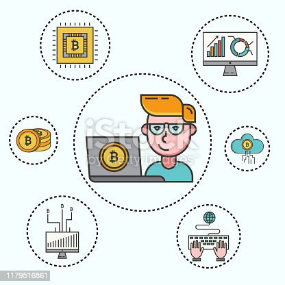 Cryptocurrency set of cryptocoins, crypto wallet and young businessman with computer with bitcoin mining farm. Modern infographic elements in thin line style. Vector illustration for website.
