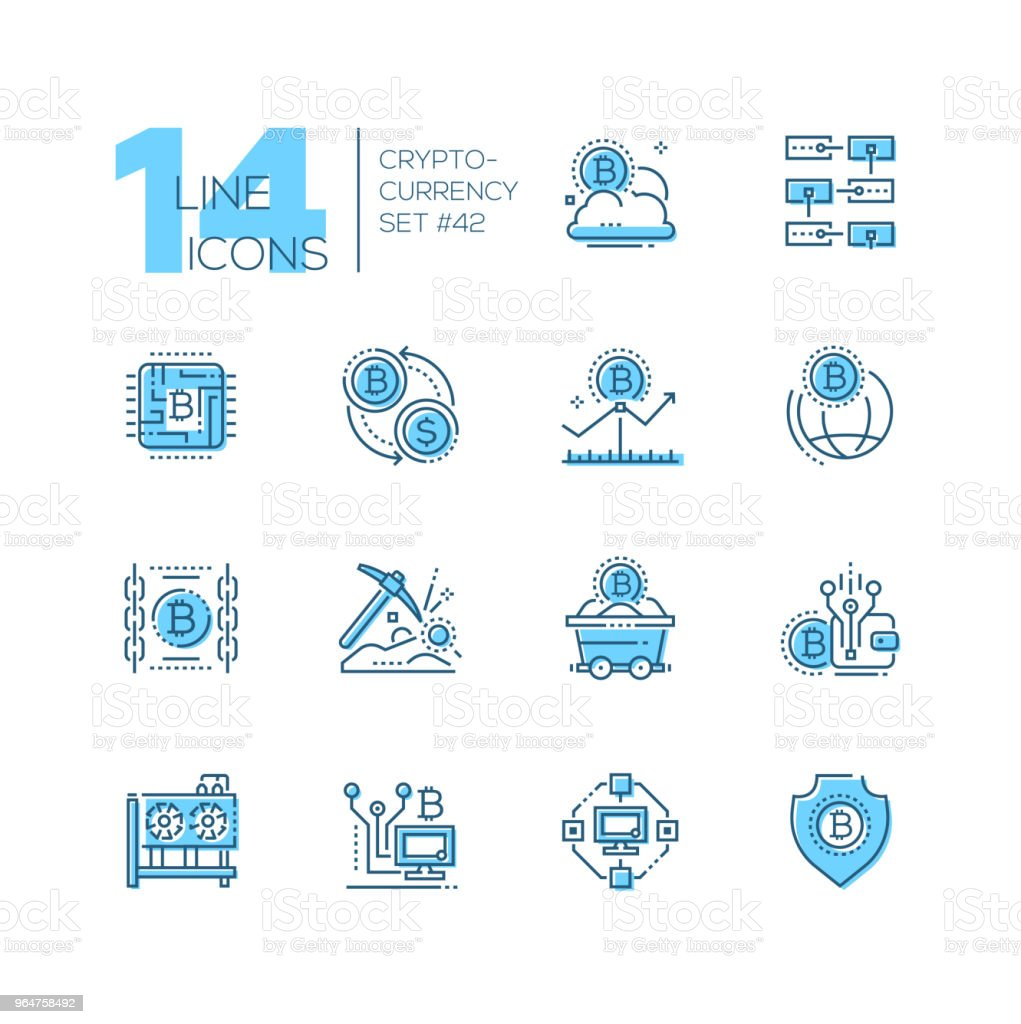 Cryptocurrency - set of line design style icons royalty-free cryptocurrency set of line design style icons stock vector art & more images of bitcoin
