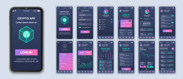 Cryptocurrency smartphone interface vector templates set. vector art illustration