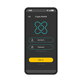 Cryptocurrency trading platform smartphone page template. Crypto market account sign in. Mobile app interface design layout. Login, sign up screen. Flat UI application. User registration. Phone display