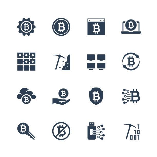 stockillustraties, clipart, cartoons en iconen met cryptocurrency vector pictogrammenset in glyph stijl - bitcoin
