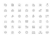 Cryptocurrency Vector Line icon set