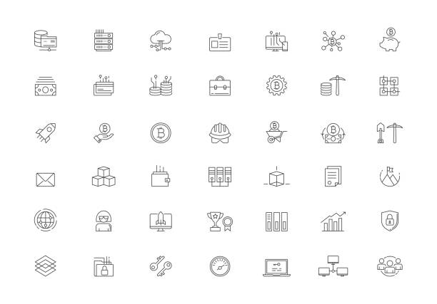 cryptocurrency 벡터 선 아이콘 세트 - 토큰 stock illustrations