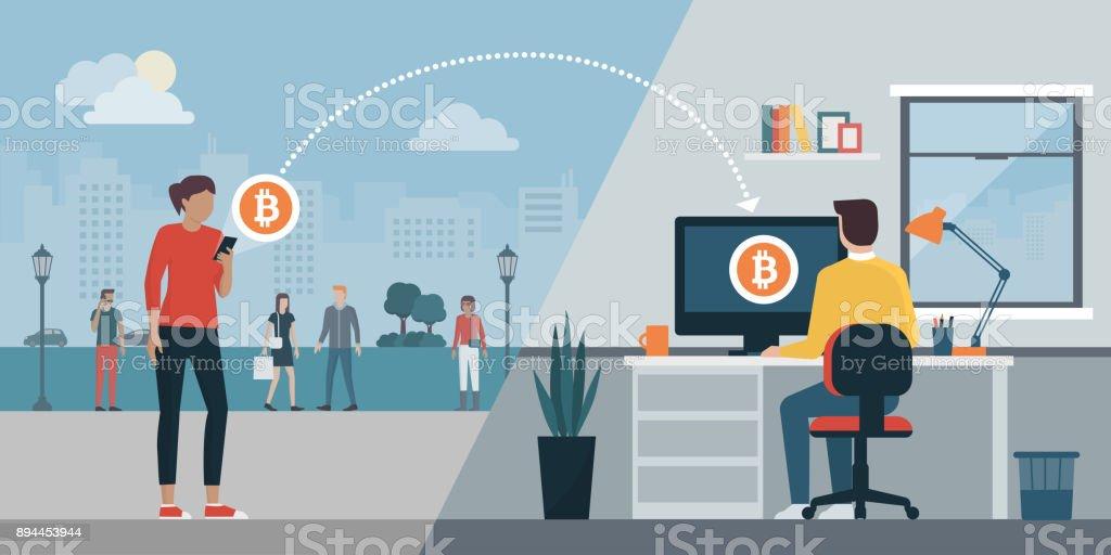 Cryptocurrency virtual transaction vector art illustration