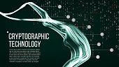 Cryptographic Technology Background Vector. Modern Science Visualization. Digital Illustration