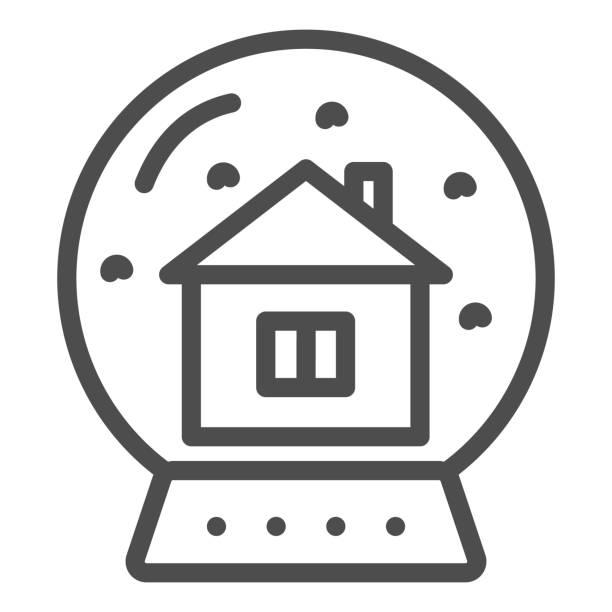 illustrazioni stock, clip art, cartoni animati e icone di tendenza di sfera di cristallo e linea lodge e icona a tinta unita. globo di neve con casa all'interno schema pittogramma su sfondo bianco. souvenir in vetro con cartello casalingo per il concetto mobile e il web design. grafica vettoriale. - souvenir