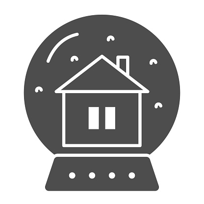 Crystal ball and lodge line and solid icon. Snow globe with house inside outline style pictogram on white background. Glass souvenir with home sign for mobile concept and web design. Vector graphics.