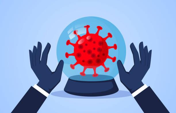 Kristallkugel und neues Coronavirus, wünschen und segnen die Welt, um neue Coronavirus so schnell wie möglich zu beseitigen – Vektorgrafik