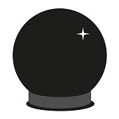 Crystal ball flat illustration on white. Witch and black magic series.