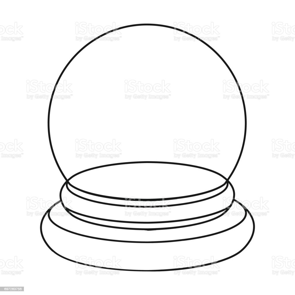 Crystal Ball Icon In Outline Style Isolated On White Background