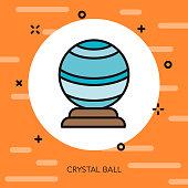 Crystal Ball Thin Line Halloween Icon