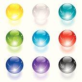 Set of translucent crystal ball.