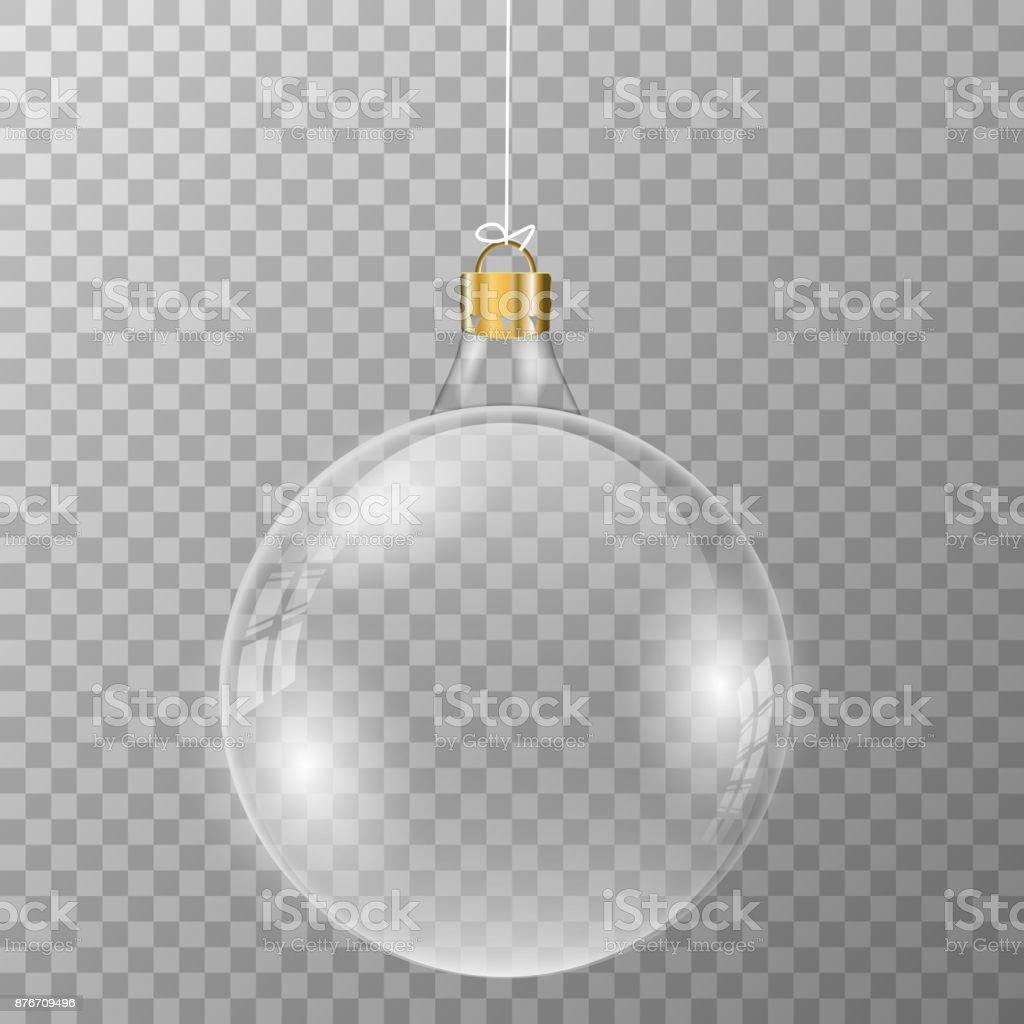Bola Navidad de cristal sobre fondo transparente. - ilustración de arte vectorial