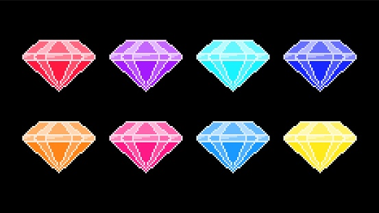 Crystal diamonds pixel icons. Red jewels with blue facets and purple glitter luxurious yellow treasure.