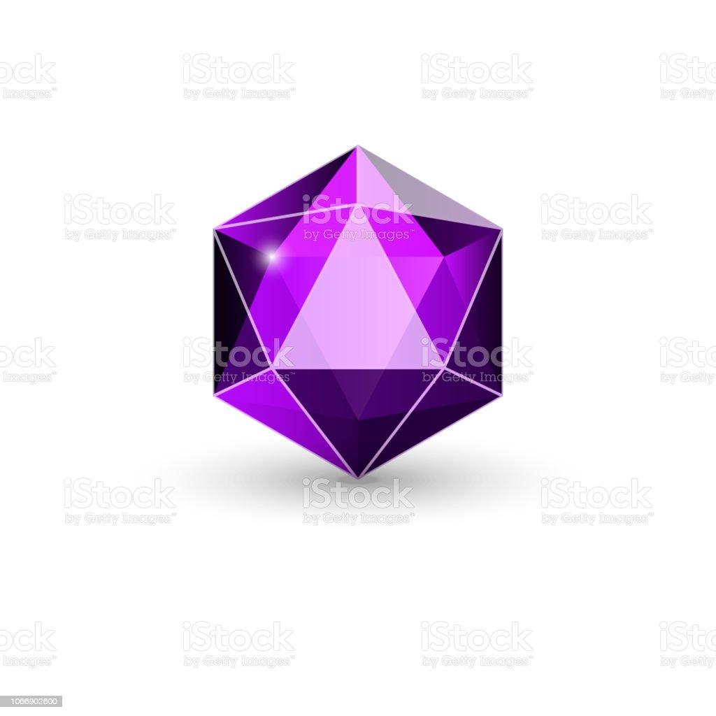 cristal, piedra Facetada - ilustración de arte vectorial