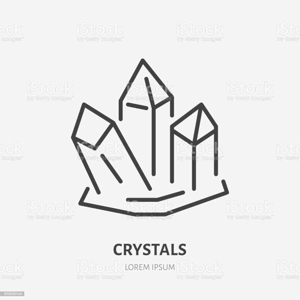 Crystal Flat Line Icon Gemstone Magic Crystals Sign Thin Linear Logo